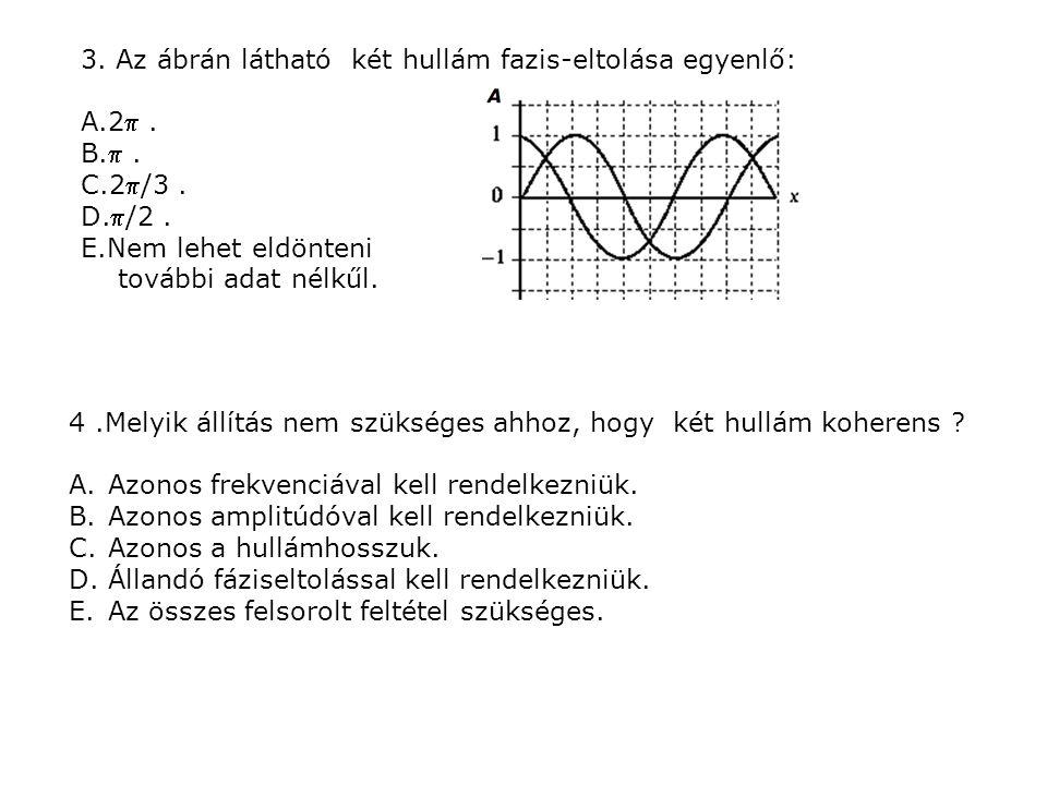 3. Az ábrán látható két hullám fazis-eltolása egyenlő: A.2.