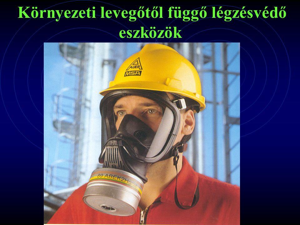 Szűrő jellegű légzésvédők A használó a levegőt a környező légtérből kapja.