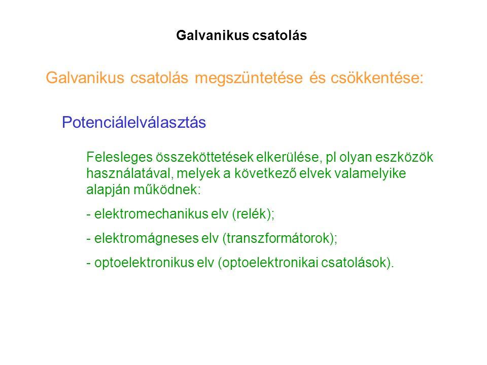 Galvanikus csatolás Galvanikus csatolás megszüntetése és csökkentése: Potenciálelválasztás Felesleges összeköttetések elkerülése, pl olyan eszközök használatával, melyek a következő elvek valamelyike alapján működnek: - elektromechanikus elv (relék); - elektromágneses elv (transzformátorok); - optoelektronikus elv (optoelektronikai csatolások).