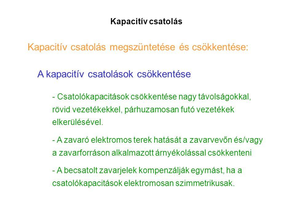 Kapacitív csatolás Kapacitív csatolás megszüntetése és csökkentése: A kapacitív csatolások csökkentése - Csatolókapacitások csökkentése nagy távolságokkal, rövid vezetékekkel, párhuzamosan futó vezetékek elkerülésével.