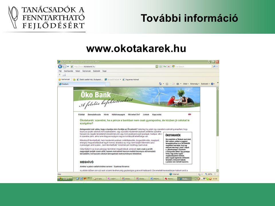 www.okotakarek.hu További információ