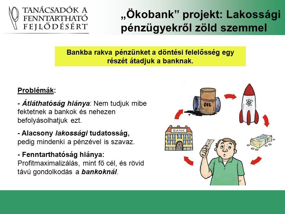 """""""Ökobank"""" projekt: Lakossági pénzügyekről zöld szemmel Problémák: - Átláthatóság hiánya: Nem tudjuk mibe fektetnek a bankok és nehezen befolyásolhatju"""