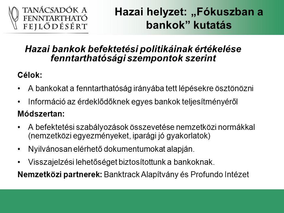 Célok: A bankokat a fenntarthatóság irányába tett lépésekre ösztönözni Információ az érdeklődőknek egyes bankok teljesítményéről Módszertan: A befekte