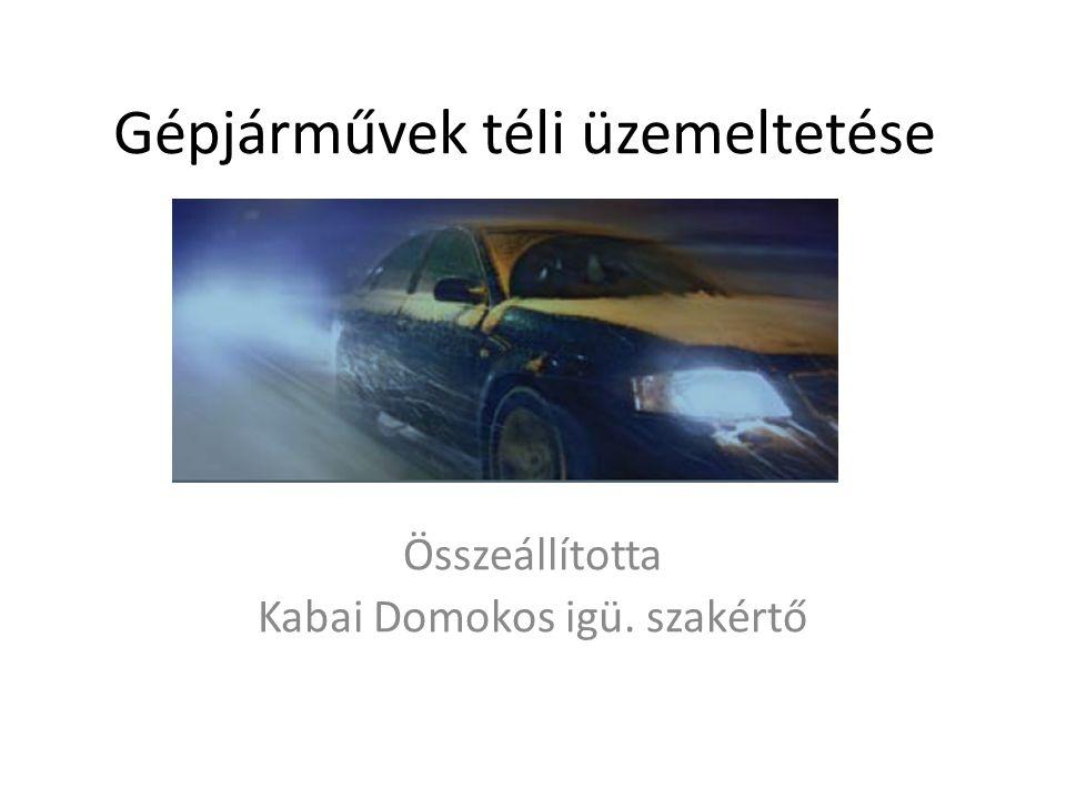 Gépjárművek téli üzemeltetése Összeállította Kabai Domokos igü. szakértő