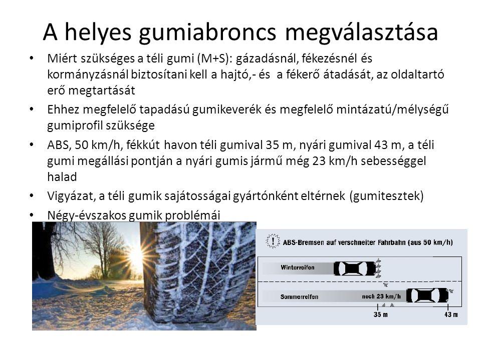 A helyes gumiabroncs megválasztása Miért szükséges a téli gumi (M+S): gázadásnál, fékezésnél és kormányzásnál biztosítani kell a hajtó,- és a fékerő átadását, az oldaltartó erő megtartását Ehhez megfelelő tapadású gumikeverék és megfelelő mintázatú/mélységű gumiprofil szüksége ABS, 50 km/h, fékkút havon téli gumival 35 m, nyári gumival 43 m, a téli gumi megállási pontján a nyári gumis jármű még 23 km/h sebességgel halad Vigyázat, a téli gumik sajátosságai gyártónként eltérnek (gumitesztek) Négy-évszakos gumik problémái