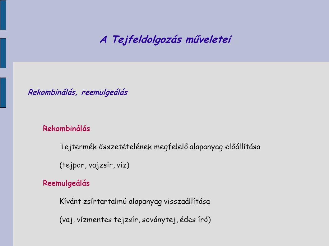 A Tejfeldolgozás műveletei Rekombinálás, reemulgeálás Rekombinálás Tejtermék összetételének megfelelő alapanyag előállítása (tejpor, vajzsír, víz) Ree