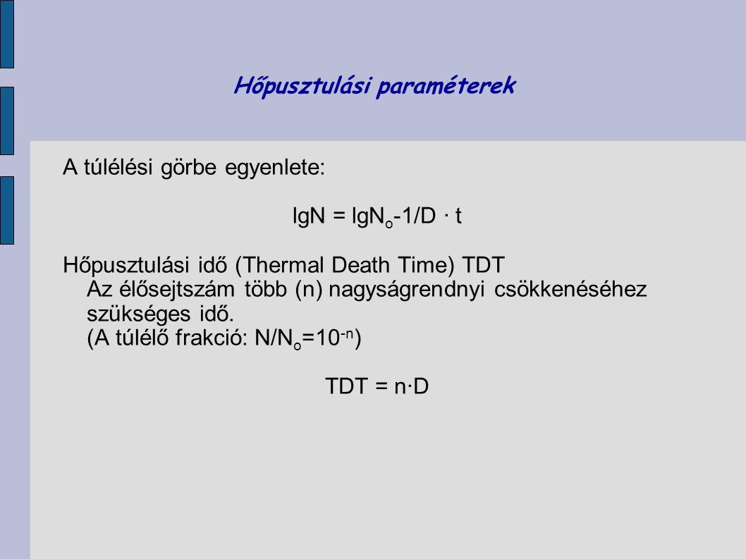 Hőpusztulási paraméterek A túlélési görbe egyenlete: lgN = lgN o -1/D · t Hőpusztulási idő (Thermal Death Time) TDT Az élősejtszám több (n) nagyságren