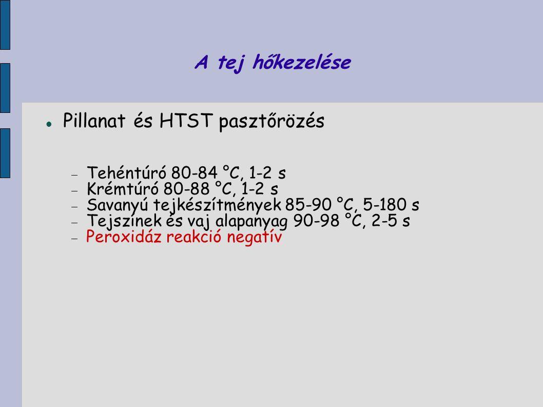 A tej hőkezelése Pillanat és HTST pasztőrözés  Tehéntúró 80-84 °C, 1-2 s  Krémtúró 80-88 °C, 1-2 s  Savanyú tejkészítmények 85-90 °C, 5-180 s  Tej