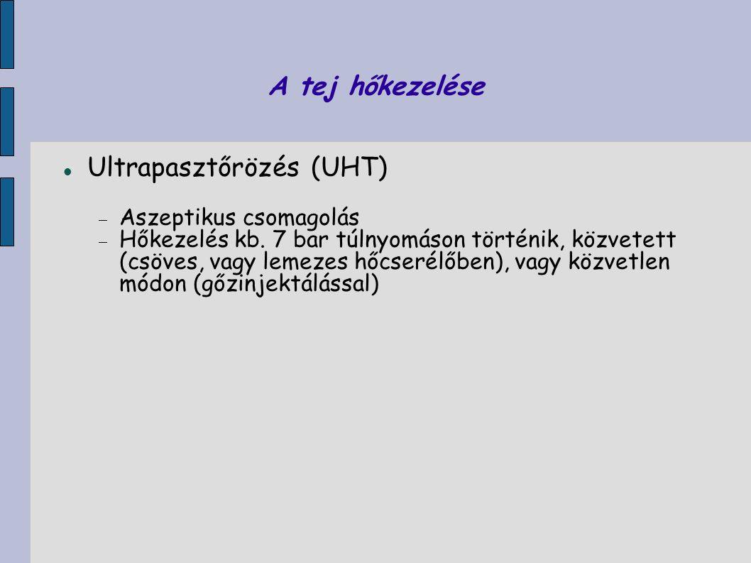 A tej hőkezelése Ultrapasztőrözés (UHT)  Aszeptikus csomagolás  Hőkezelés kb. 7 bar túlnyomáson történik, közvetett (csöves, vagy lemezes hőcserélőb