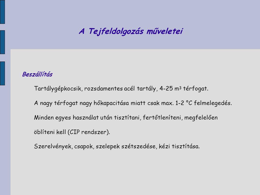 A Tejfeldolgozás műveletei ÁtvételMinőségi tejátvétel Hőmérséklet Érzékszervi tulajdonságok (szag, szín, állomány, íz) Savfok, vagy pH Fizikai tisztaság Sűrűség Beltartalom (zsír, fehérje, zsírmentes szárazanyag) Gátlóanyag tartalom Fagyáspont Szomatikus sejtszám Mikrobaszám Probléma:Mikrobaszám-meghatározás időigénye (3 nap) túl hosszú.