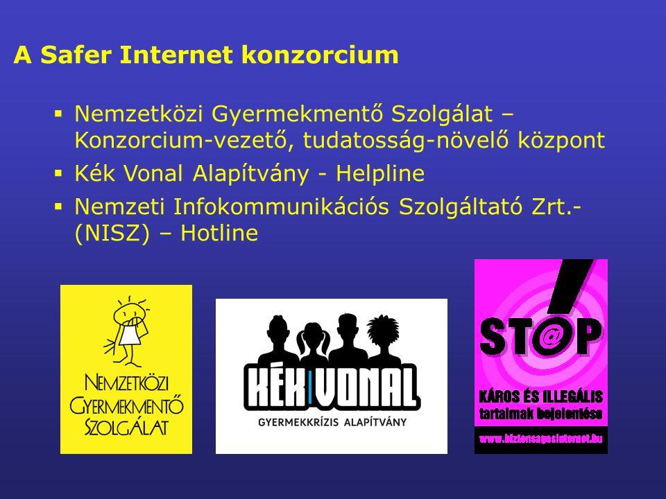 A Safer Internet konzorcium  Nemzetközi Gyermekmentő Szolgálat – Konzorcium-vezető, tudatosság-növelő központ  Kék Vonal Alapítvány - Helpline  Nemzeti Infokommunikációs Szolgáltató Zrt.- (NISZ) – Hotline