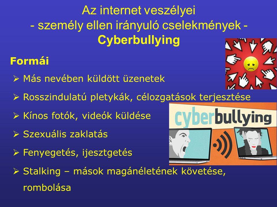 Az internet veszélyei - személy ellen irányuló cselekmények - Cyberbullying Formái  Más nevében küldött üzenetek  Rosszindulatú pletykák, célozgatások terjesztése  Kínos fotók, videók küldése  Szexuális zaklatás  Fenyegetés, ijesztgetés  Stalking – mások magánéletének követése, rombolása
