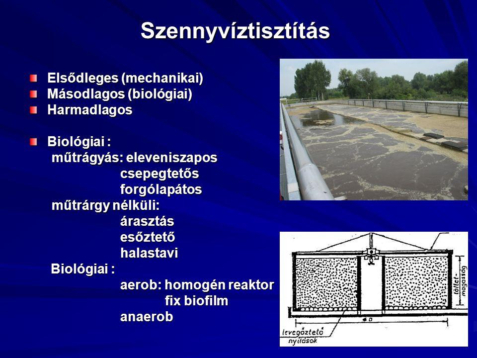 Szennyvíztisztítás Elsődleges (mechanikai) Másodlagos (biológiai) Harmadlagos Biológiai : műtrágyás: eleveniszapos műtrágyás: eleveniszapos csepegtető