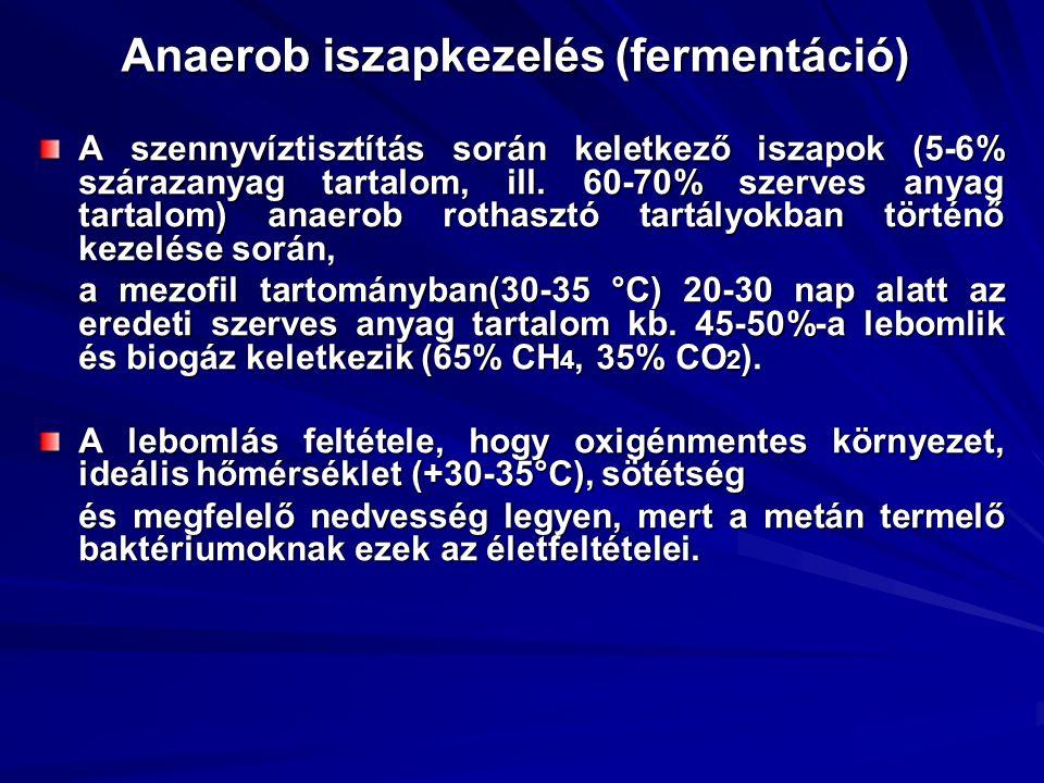 Anaerob iszapkezelés (fermentáció) A szennyvíztisztítás során keletkező iszapok (5-6% szárazanyag tartalom, ill. 60-70% szerves anyag tartalom) anaero