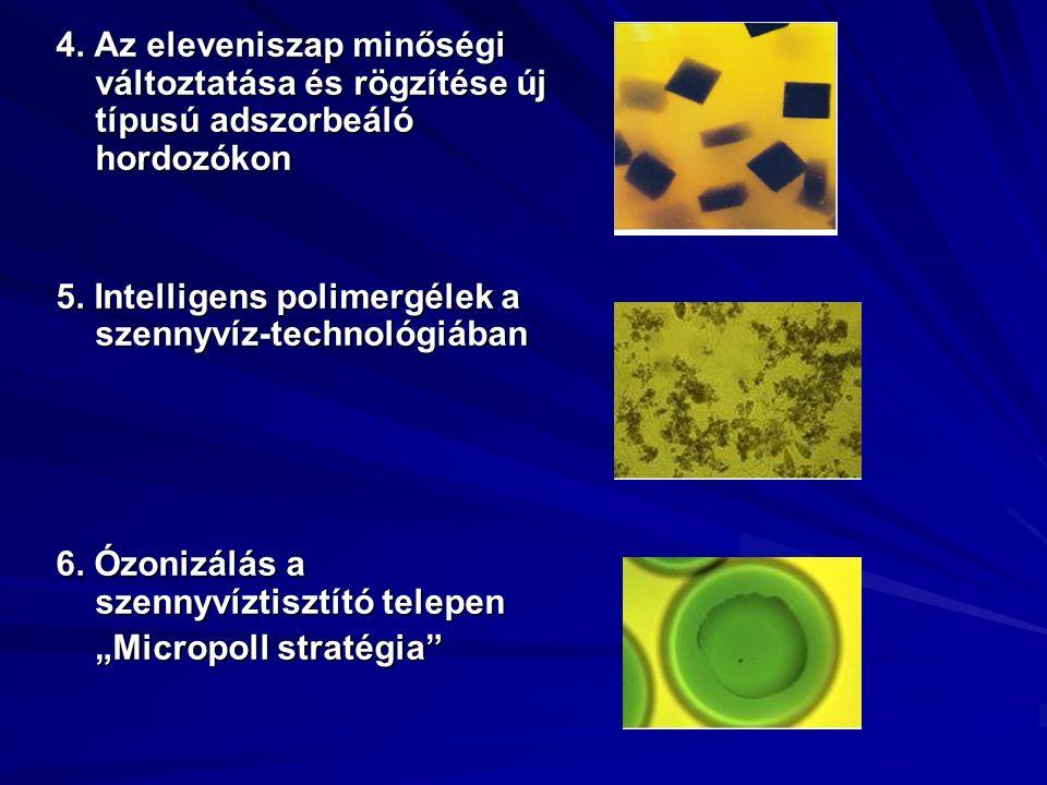 4. Az eleveniszap minőségi változtatása és rögzítése új típusú adszorbeáló hordozókon 5. Intelligens polimergélek a szennyvíz-technológiában 6. Ózoniz
