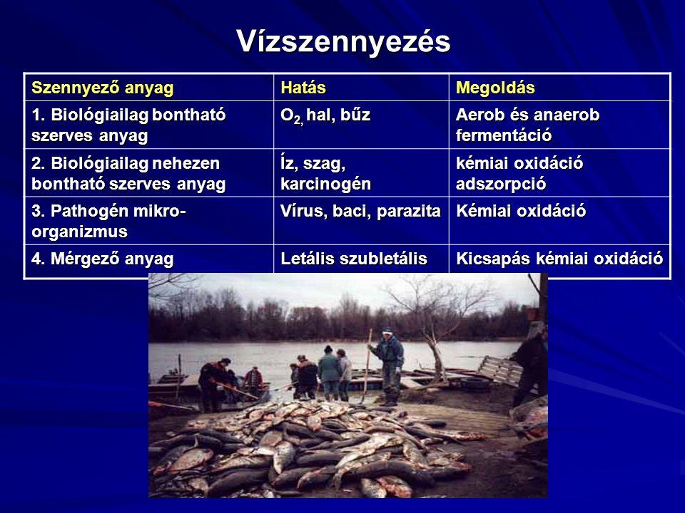Vízszennyezés Szennyező anyag HatásMegoldás 1. Biológiailag bontható szerves anyag O 2, hal, bűz Aerob és anaerob fermentáció 2. Biológiailag nehezen