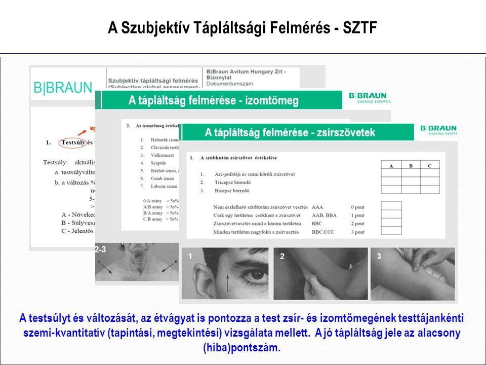 A Szubjektív Tápláltsági Felmérés - SZTF A testsúlyt és változását, az étvágyat is pontozza a test zsír- és izomtömegének testtájankénti szemi-kvantitatív (tapintási, megtekintési) vizsgálata mellett.