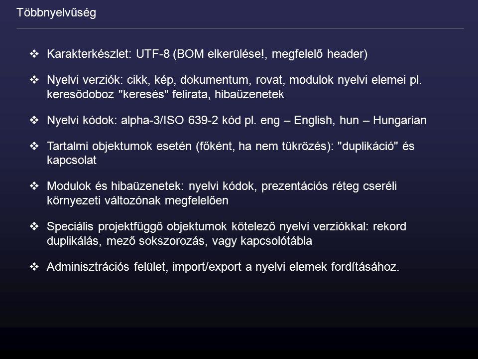  Karakterkészlet: UTF-8 (BOM elkerülése!, megfelelő header)  Nyelvi verziók: cikk, kép, dokumentum, rovat, modulok nyelvi elemei pl. keresődoboz