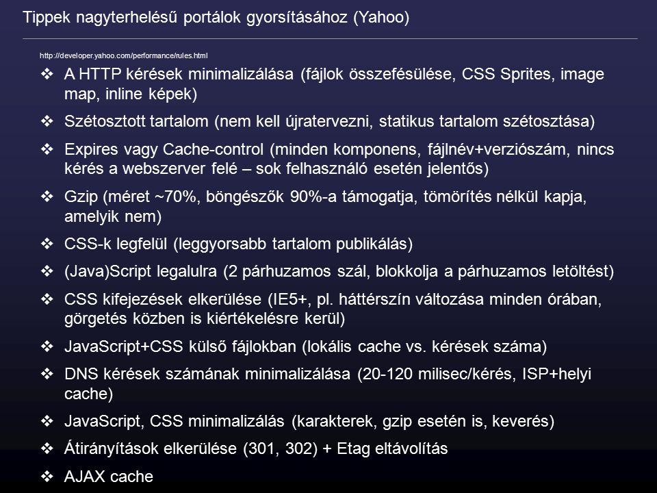 http://developer.yahoo.com/performance/rules.html  A HTTP kérések minimalizálása (fájlok összefésülése, CSS Sprites, image map, inline képek)  Széto