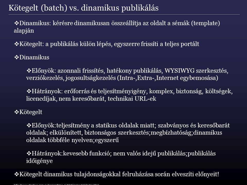 Kötegelt (batch) vs. dinamikus publikálás  Dinamikus: kérésre dinamikusan összeállítja az oldalt a sémák (template) alapján  Kötegelt: a publikálás