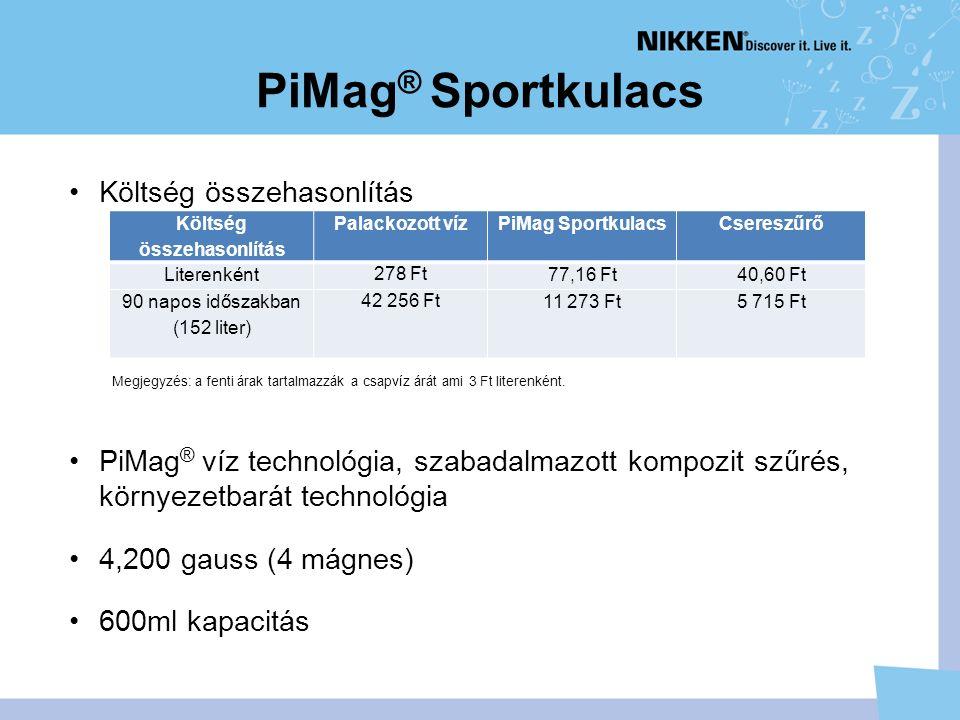 PiMag ® Sportkulacs Költség összehasonlítás PiMag ® víz technológia, szabadalmazott kompozit szűrés, környezetbarát technológia 4,200 gauss (4 mágnes) 600ml kapacitás Költség összehasonlítás Palackozott vízPiMag SportkulacsCsereszűrő Literenként 278 Ft 77,16 Ft40,60 Ft 90 napos időszakban (152 liter) 42 256 Ft 11 273 Ft5 715 Ft Megjegyzés: a fenti árak tartalmazzák a csapvíz árát ami 3 Ft literenként.