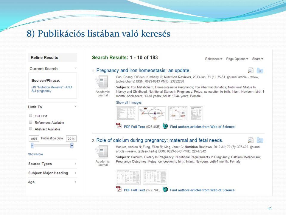 41 8) Publikációs listában való keresés