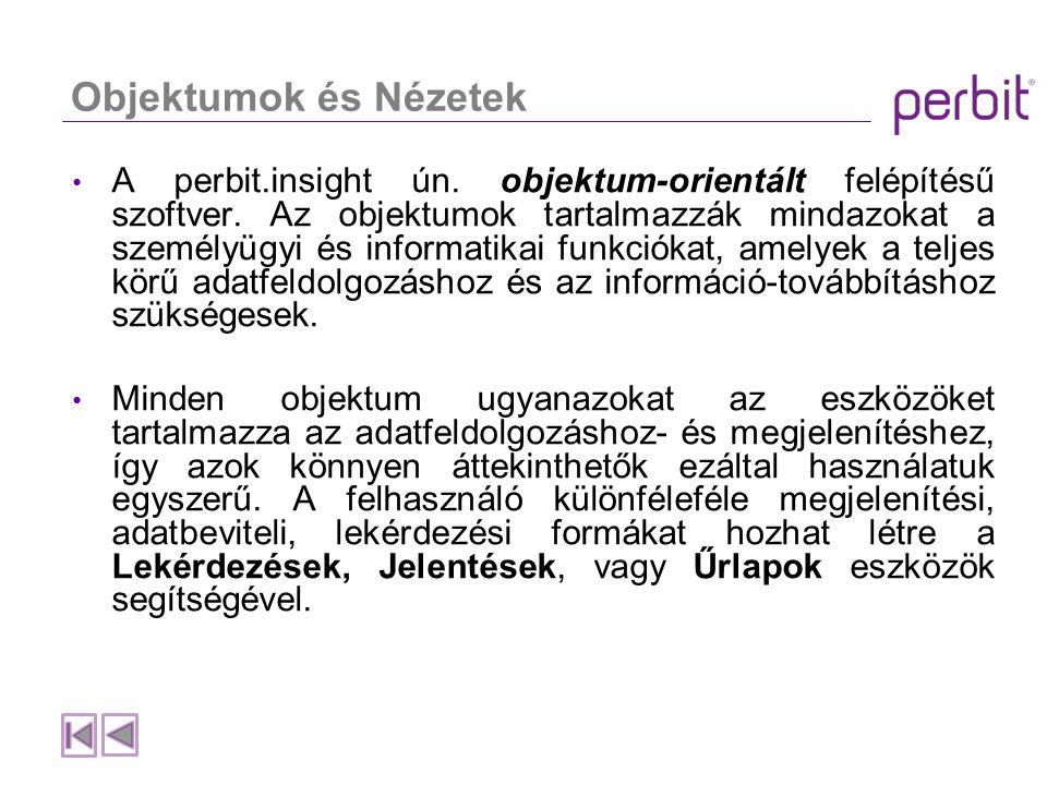 Objektumok és Nézetek A perbit.insight ún. objektum-orientált felépítésű szoftver.