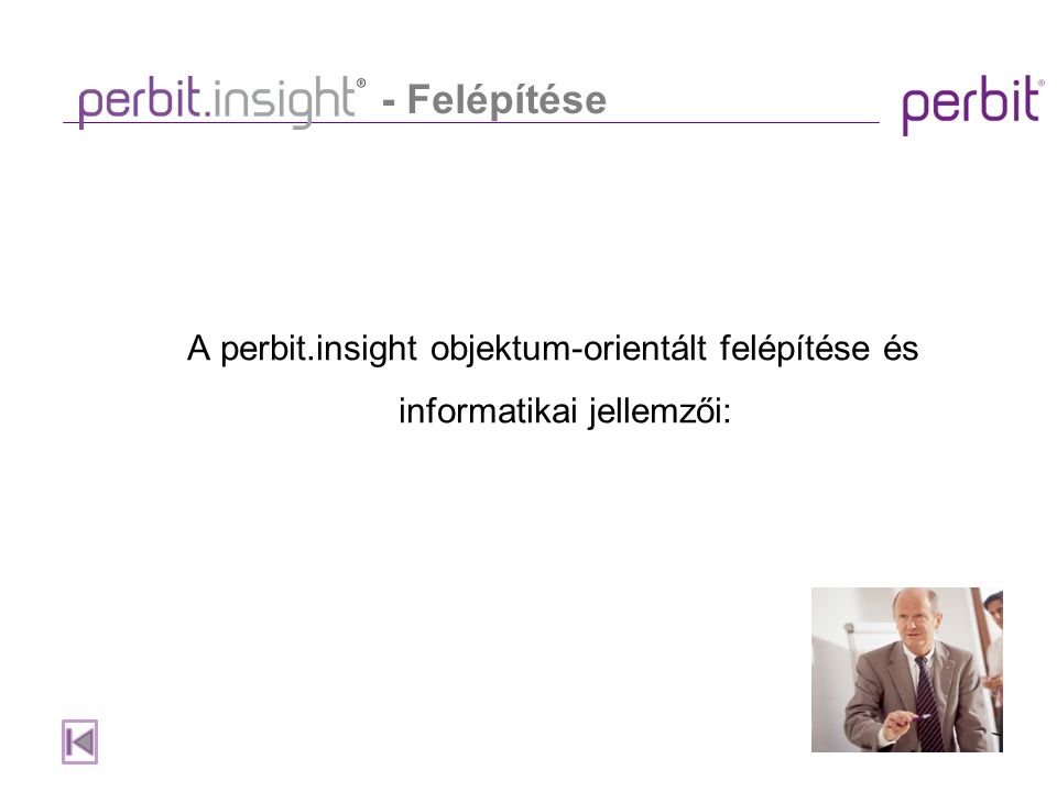 A perbit.insight objektum-orientált felépítése és informatikai jellemzői: - Felépítése