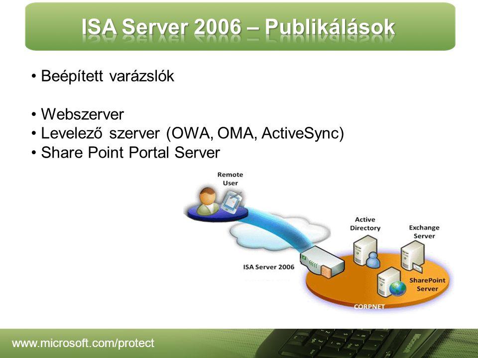www.microsoft.com/protect Beépített varázslók Webszerver Levelező szerver (OWA, OMA, ActiveSync) Share Point Portal Server