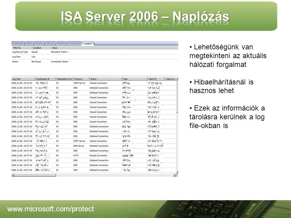 www.microsoft.com/protect Lehetőségünk van megtekinteni az aktuális hálózati forgalmat Hibaelhárításnál is hasznos lehet Ezek az információk a tárolásra kerülnek a log file-okban is