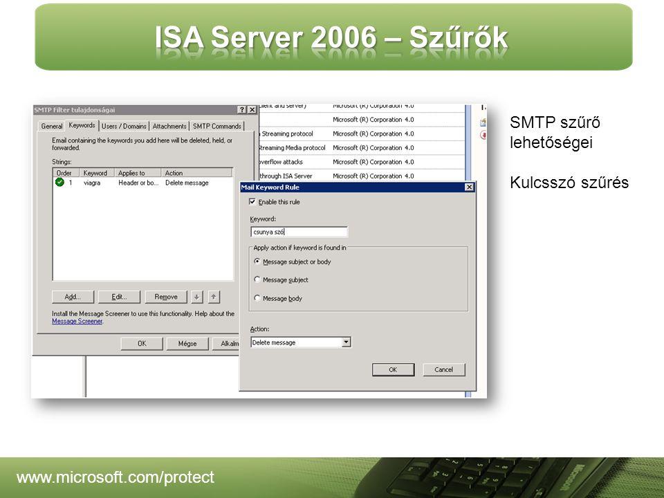 SMTP szűrő lehetőségei Kulcsszó szűrés