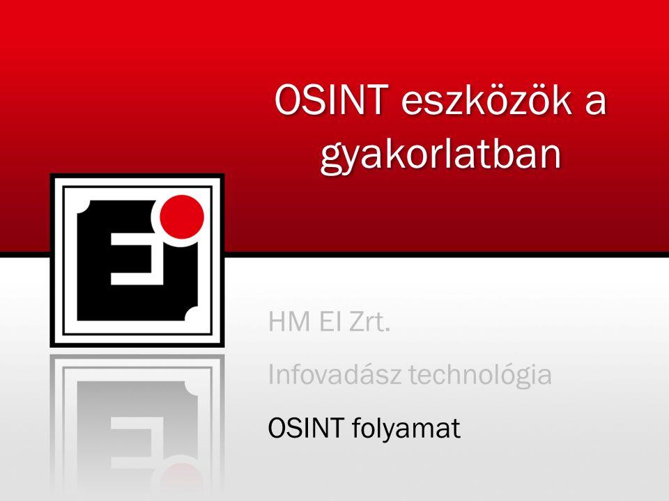 HM EI Zrt. Infovadász technológia OSINT folyamat OSINT eszközök a gyakorlatban