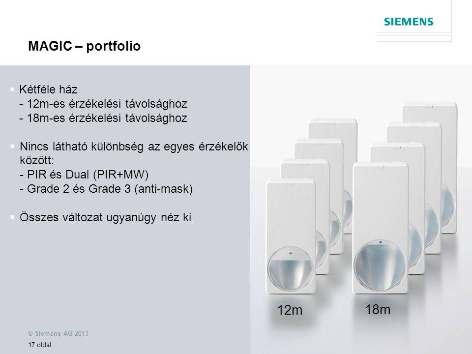 © Siemens AG 2013 17 oldal  Kétféle ház - 12m-es érzékelési távolsághoz - 18m-es érzékelési távolsághoz  Nincs látható különbség az egyes érzékelők között: - PIR és Dual (PIR+MW) - Grade 2 és Grade 3 (anti-mask)  Összes változat ugyanúgy néz ki 12m 18m MAGIC – portfolio
