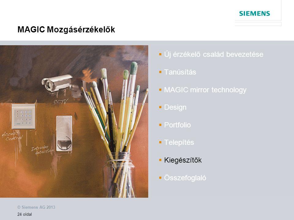 © Siemens AG 2013 24 oldal MAGIC Mozgásérzékelők  Új érzékelő család bevezetése  Tanúsítás  MAGIC mirror technology  Design  Portfolio  Telepítés  Kiegészítők  Összefoglaló