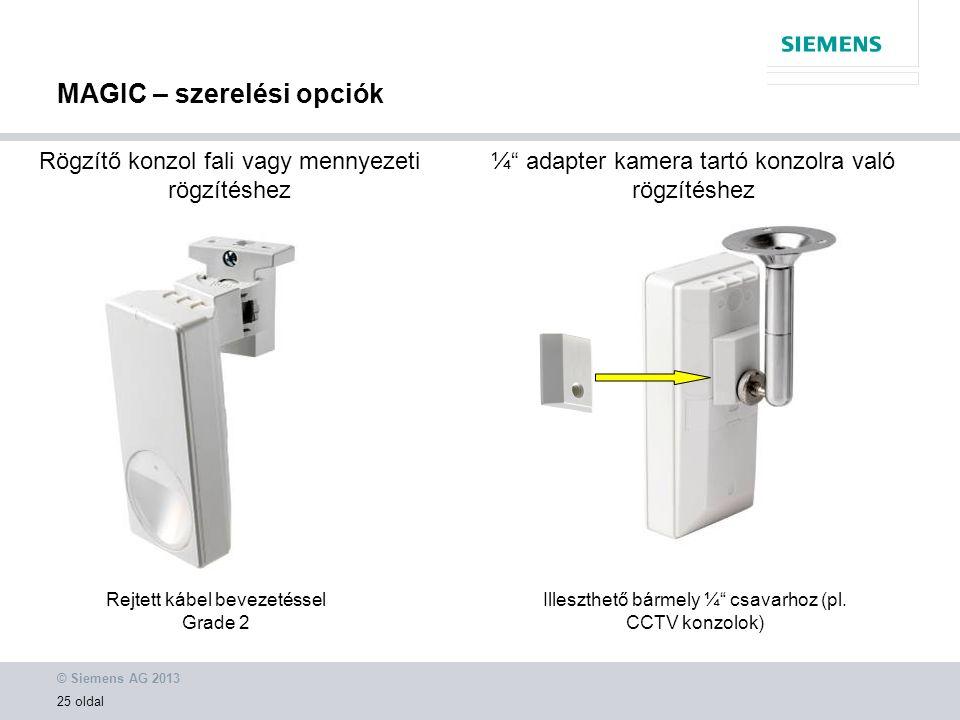 © Siemens AG 2013 25 oldal ¼ adapter kamera tartó konzolra való rögzítéshez Illeszthető bármely ¼ csavarhoz (pl.