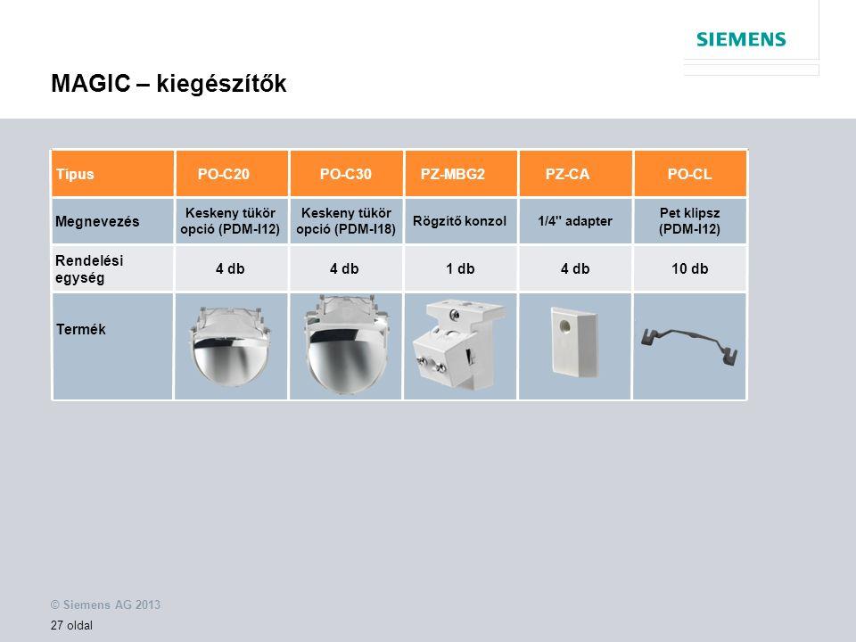 © Siemens AG 2013 27 oldal MAGIC – kiegészítők Megnevezés PO-C20PZ-MBG2PZ-CA Keskeny tükör opció (PDM-I12) Rögzítő konzol Rendelési egység 4 db TípusPO-C30 Keskeny tükör opció (PDM-I18) 1/4 adapter PO-CL 1 db4 db Pet klipsz (PDM-I12) 10 db Termék