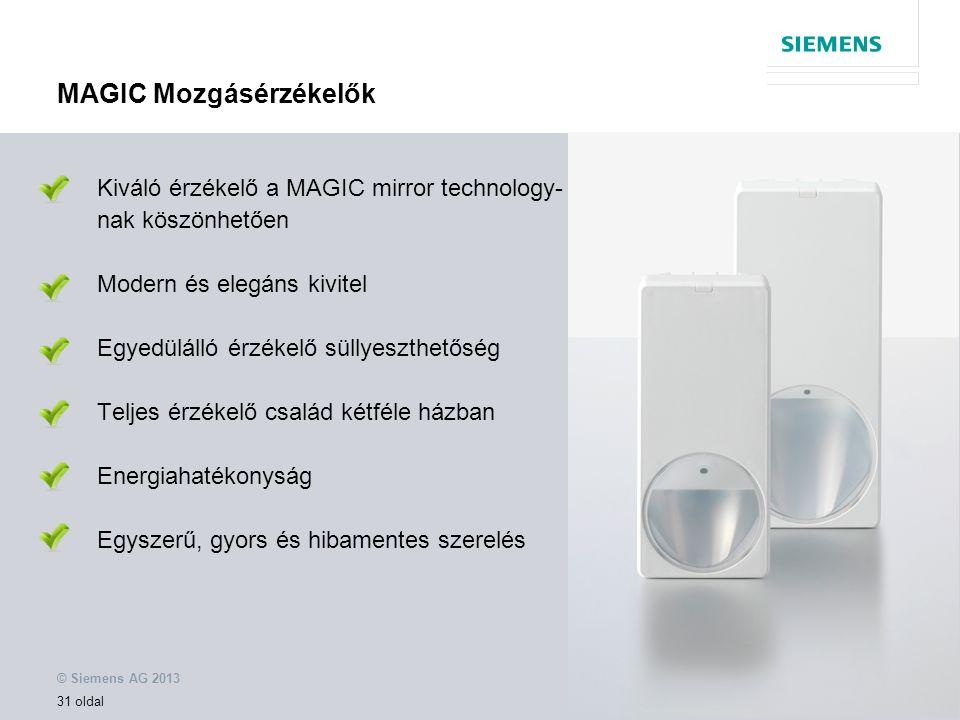 © Siemens AG 2013 31 oldal MAGIC Mozgásérzékelők Kiváló érzékelő a MAGIC mirror technology- nak köszönhetően Modern és elegáns kivitel Egyedülálló érzékelő süllyeszthetőség Teljes érzékelő család kétféle házban Energiahatékonyság Egyszerű, gyors és hibamentes szerelés