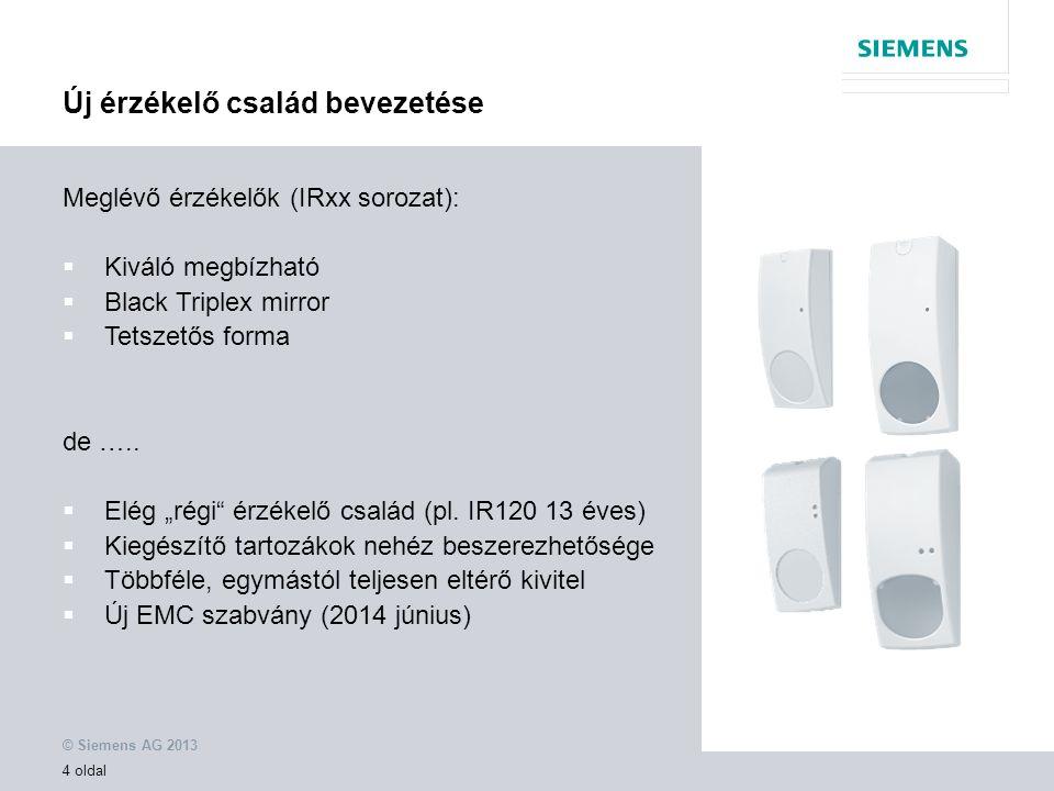 © Siemens AG 2013 4 oldal Meglévő érzékelők (IRxx sorozat):  Kiváló megbízható  Black Triplex mirror  Tetszetős forma de …..