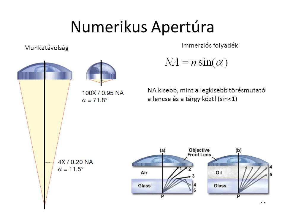 Numerikus Apertúra Munkatávolság Immerziós folyadék NA kisebb, mint a legkisebb törésmutató a lencse és a tárgy közt! (sin<1)