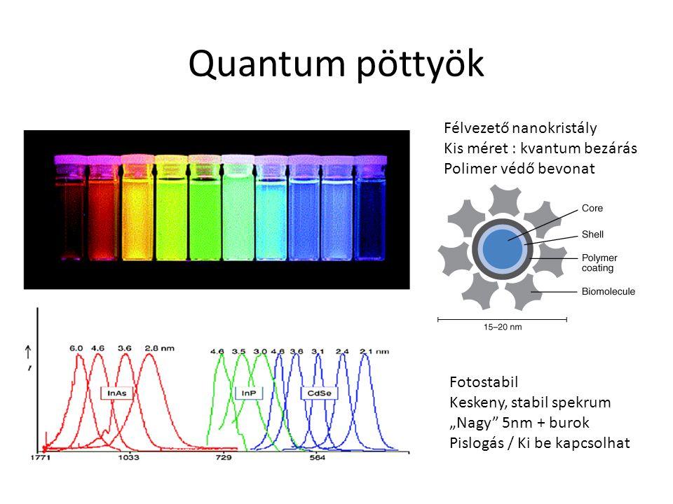 """Quantum pöttyök Félvezető nanokristály Kis méret : kvantum bezárás Polimer védő bevonat Fotostabil Keskeny, stabil spekrum """"Nagy"""" 5nm + burok Pislogás"""