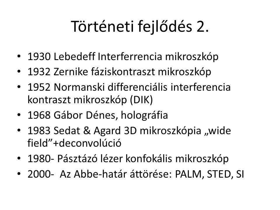 Történeti fejlődés 2. 1930 Lebedeff Interferrencia mikroszkóp 1932 Zernike fáziskontraszt mikroszkóp 1952 Normanski differenciális interferencia kontr