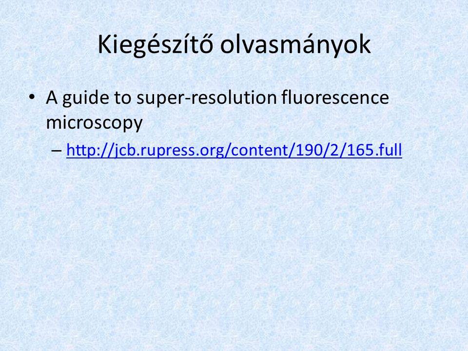 Kiegészítő olvasmányok A guide to super-resolution fluorescence microscopy – http://jcb.rupress.org/content/190/2/165.full http://jcb.rupress.org/cont