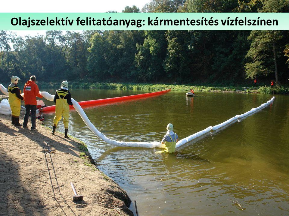 Csapadékvíz-olajleválasztó Olajszelektív felitatóanyag: kármentesítés vízfelszínen