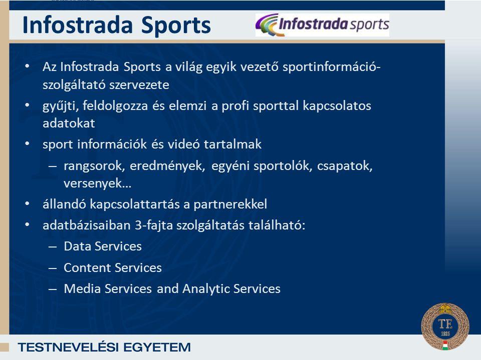 Infostrada Sports Az Infostrada Sports a világ egyik vezető sportinformáció- szolgáltató szervezete gyűjti, feldolgozza és elemzi a profi sporttal kapcsolatos adatokat sport információk és videó tartalmak – rangsorok, eredmények, egyéni sportolók, csapatok, versenyek… állandó kapcsolattartás a partnerekkel adatbázisaiban 3-fajta szolgáltatás található: – Data Services – Content Services – Media Services and Analytic Services
