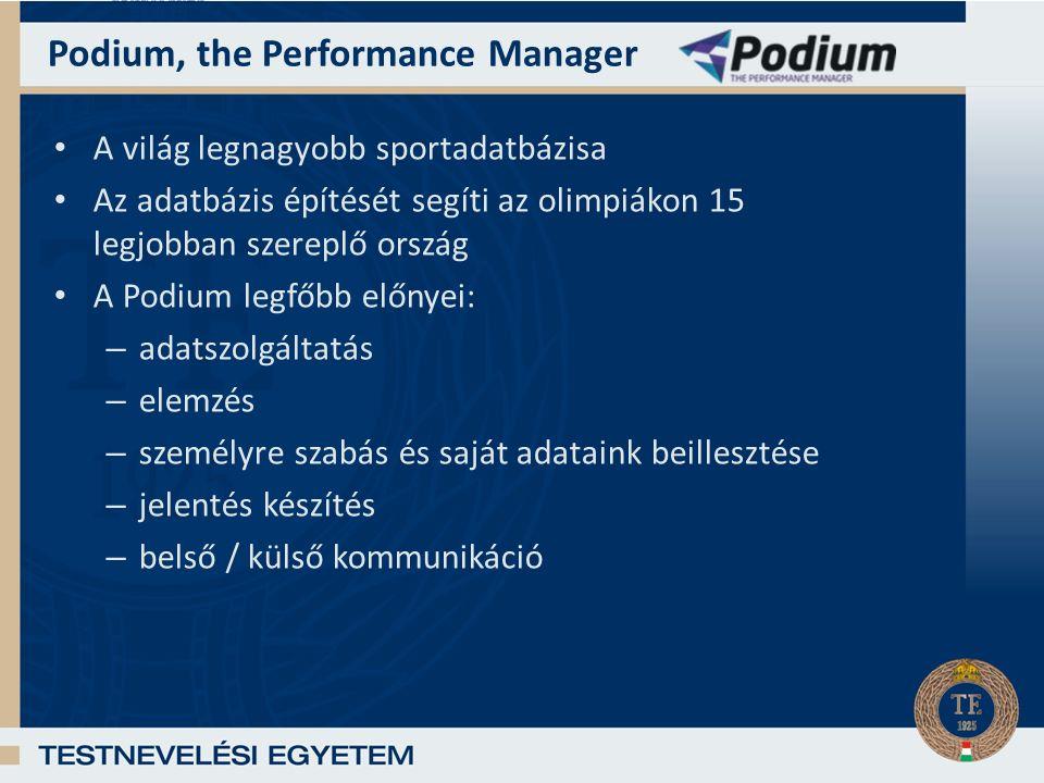 Podium, the Performance Manager A világ legnagyobb sportadatbázisa Az adatbázis építését segíti az olimpiákon 15 legjobban szereplő ország A Podium legfőbb előnyei: – adatszolgáltatás – elemzés – személyre szabás és saját adataink beillesztése – jelentés készítés – belső / külső kommunikáció