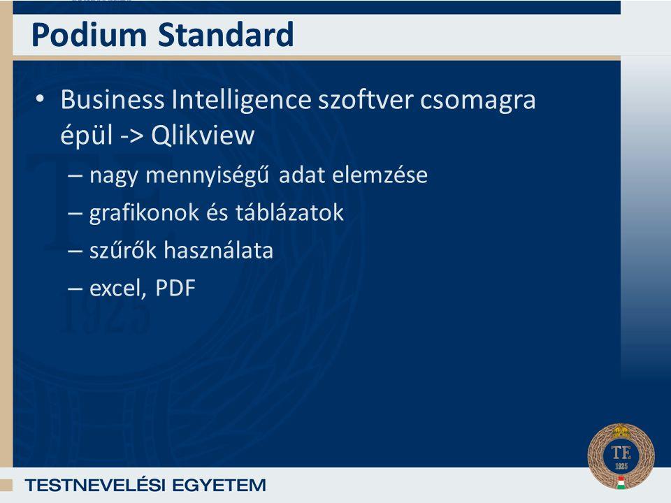 Podium Standard Business Intelligence szoftver csomagra épül -> Qlikview – nagy mennyiségű adat elemzése – grafikonok és táblázatok – szűrők használata – excel, PDF