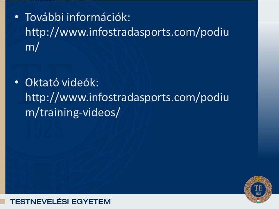 További információk: http://www.infostradasports.com/podiu m/ Oktató videók: http://www.infostradasports.com/podiu m/training-videos/