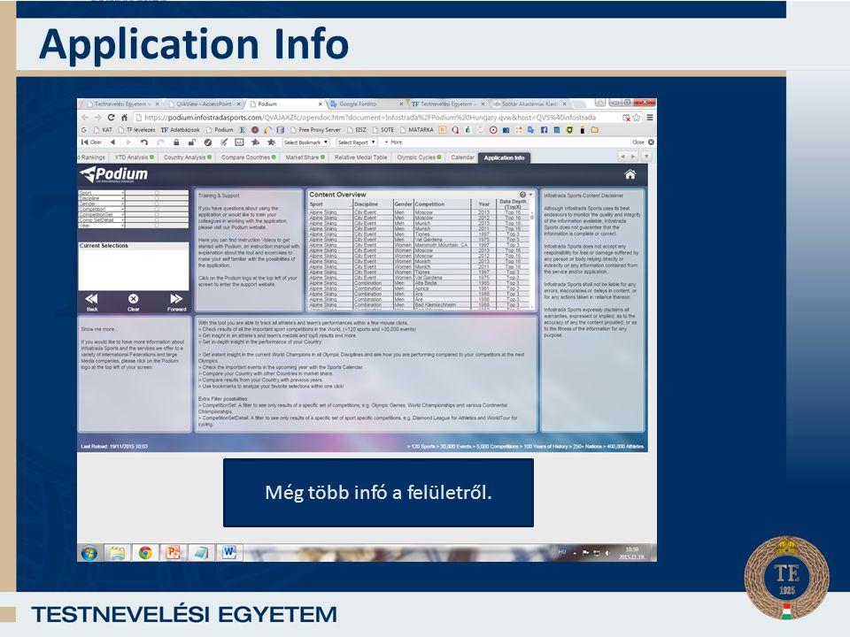Application Info Még több infó a felületről.