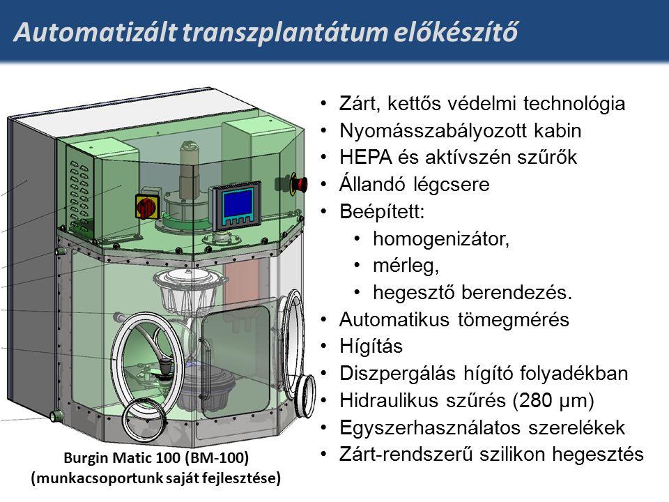 Automatizált transzplantátum előkészítő Zárt, kettős védelmi technológia Nyomásszabályozott kabin HEPA és aktívszén szűrők Állandó légcsere Beépített: homogenizátor, mérleg, hegesztő berendezés.