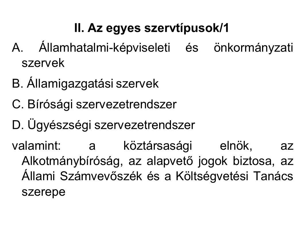 II. Az egyes szervtípusok/1 A. Államhatalmi-képviseleti és önkormányzati szervek B.